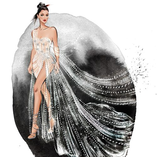 Fantasy girl wearing silver dress  mixed media illustration
