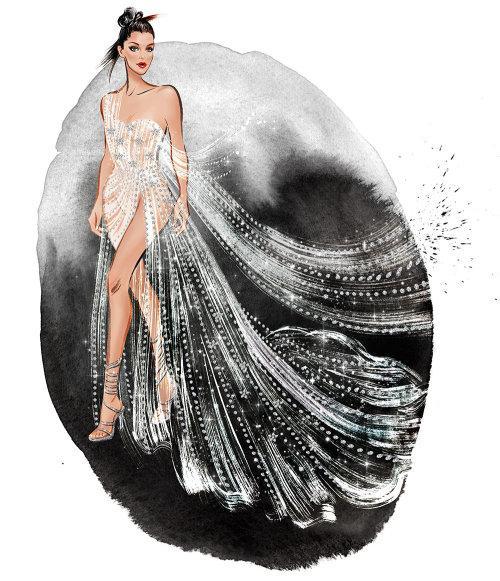 Fantasy girl portant une robe argentée illustration de techniques mixtes