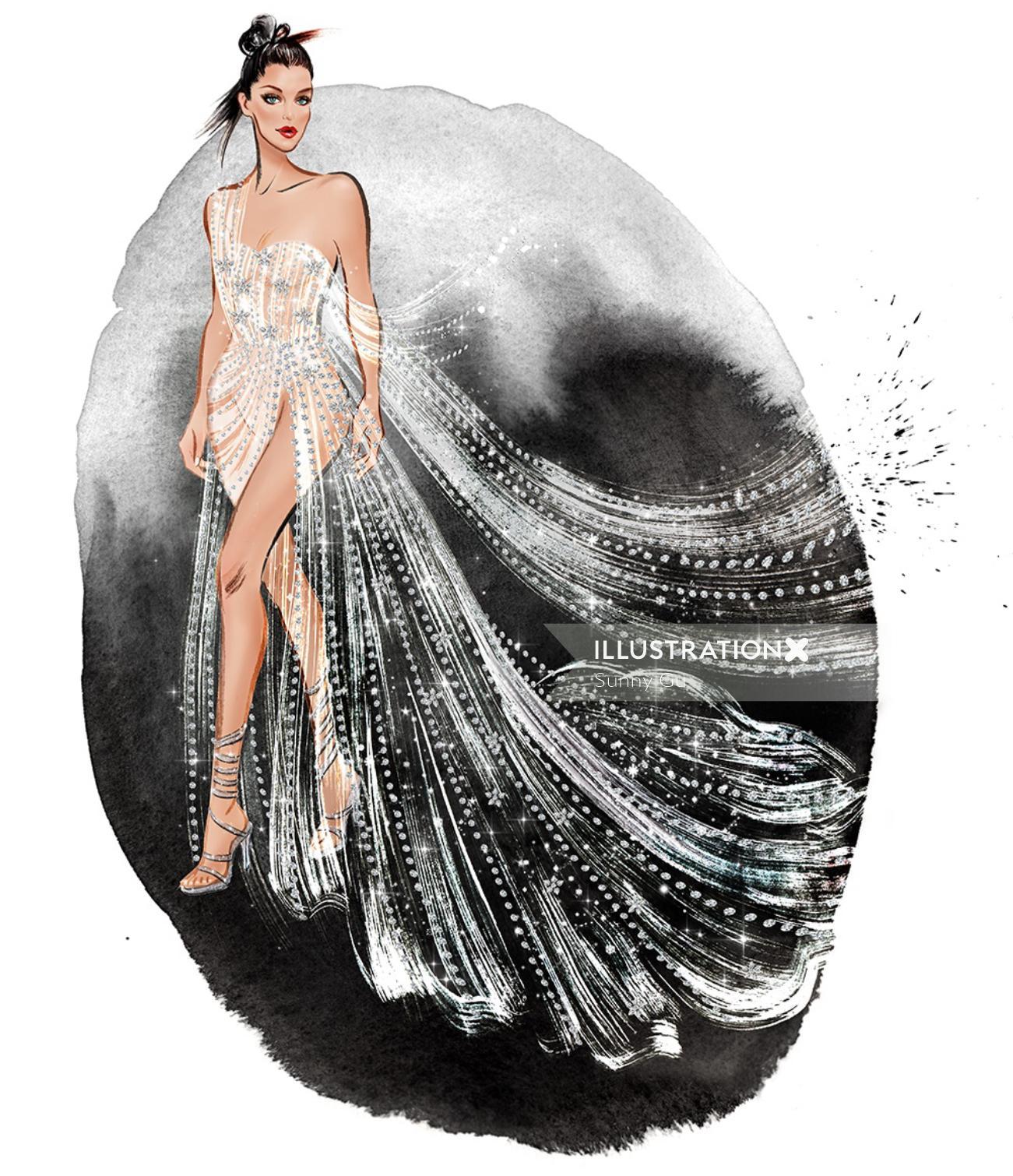 Fantasy girl wearing silver dress  mixed media illustration