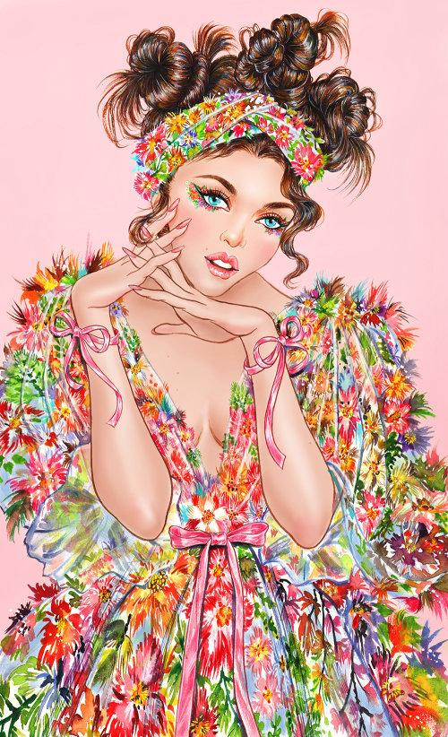 Portrait de femme glamour en robe à fleurs