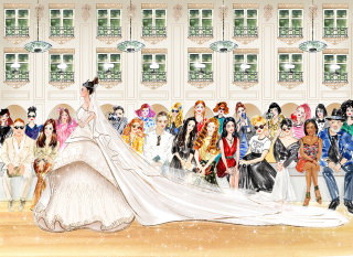 Fashion Woman wearing wedding dress line illustration