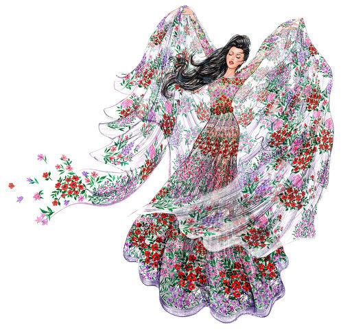 Robe fille fleurie
