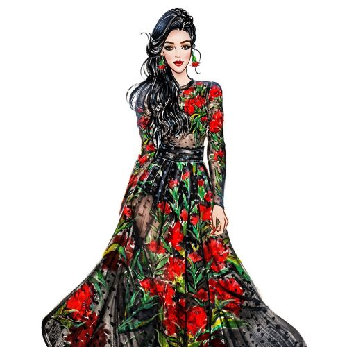 Fashion Girl in black floral dress