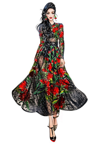 Fashion Girl in black floral dress