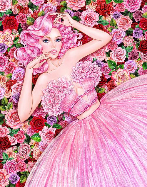 Illustration aquarelle de jeune fille en robe rose