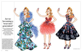 Fashion women taking selfie line artwork