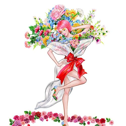 Floral fashion girl watercolor illustration