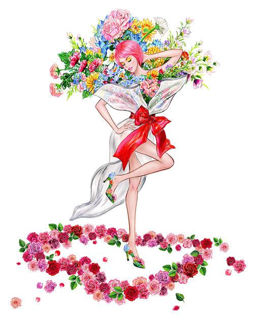 Illustration aquarelle fille mode florale