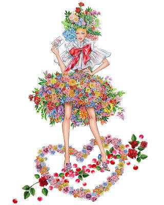 Illustration of girl in floral dress