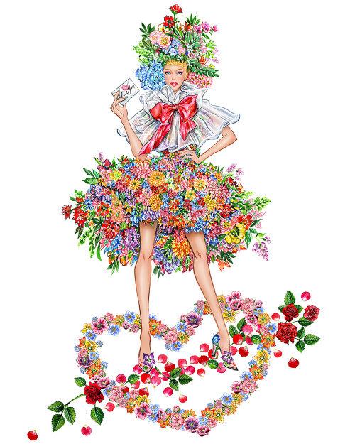 Illustration de la jeune fille en robe à fleurs