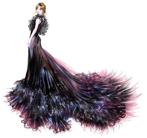femme portant une robe noire