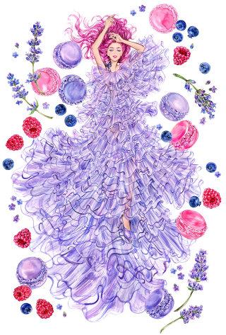 Watercolor illustration of fantasy girl