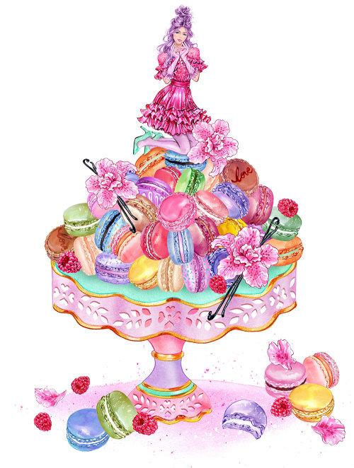 Gâteau illustré avec une fille