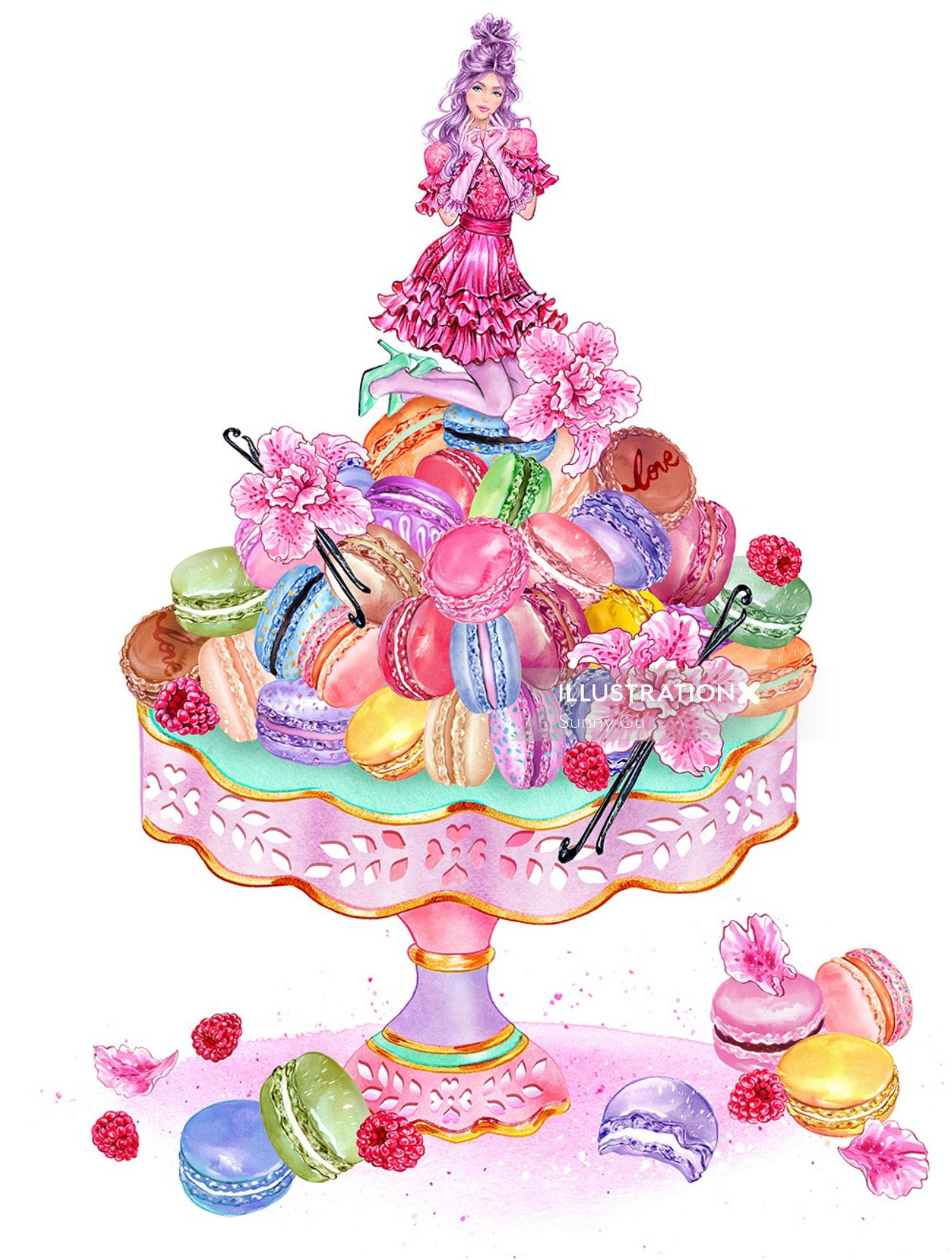 illustrated Cake with girl