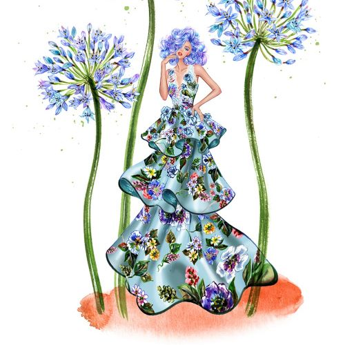 Girl in blue couture gown illustration