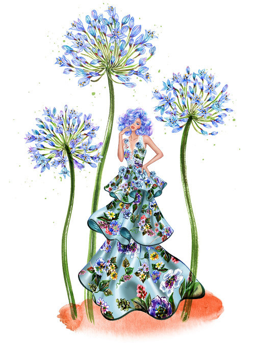 Fille en illustration de robe couture bleue