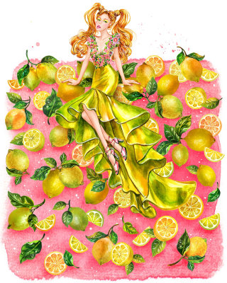 Girl in yellow couture gown fashion illustration