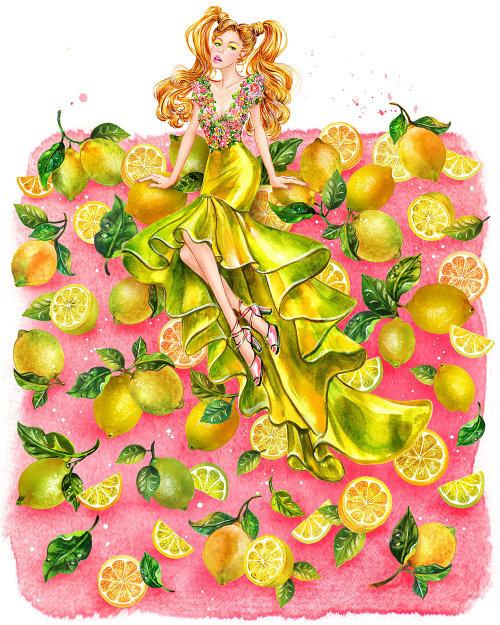 Fille en illustration de mode robe couture jaune