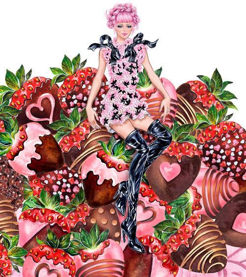 Girl on strawberry line illustration