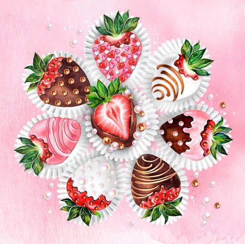 Dessin au trait gâteau aux fraises