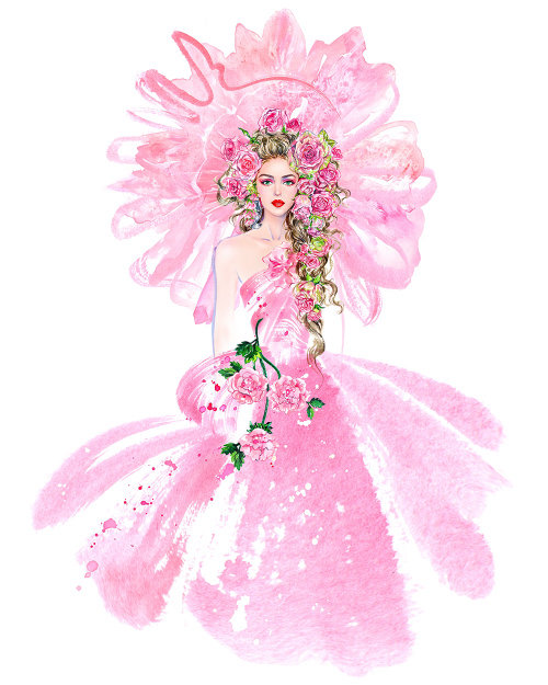 Illustration aquarelle de fille de tête florale en robe rose