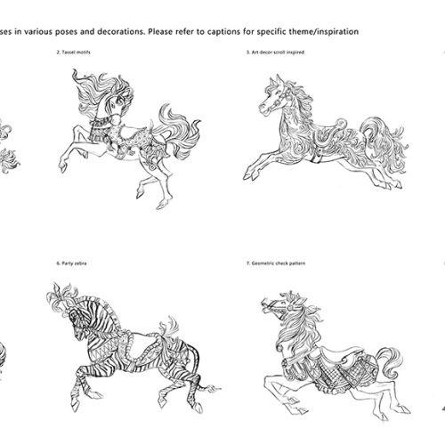 Black and white illustration of carousel horses