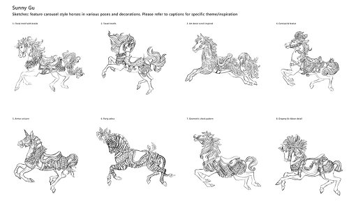 Illustration en noir et blanc de chevaux de carrousel
