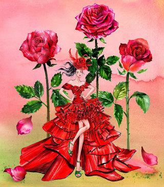Red print floral girl line illustration