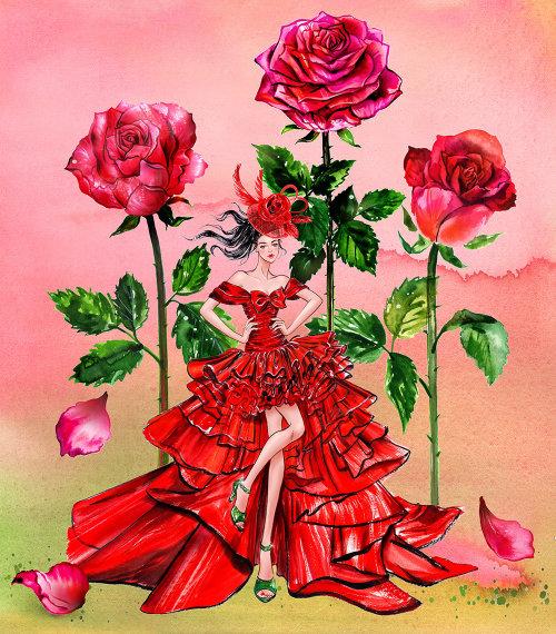 Illustration de ligne fille floral imprimé rouge