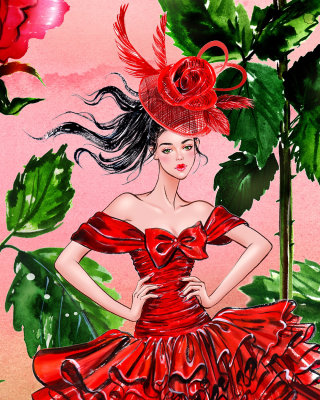 Colorful Floral Girl illustration
