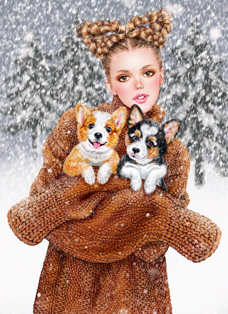 A young girl holding a cute puppy line illustration