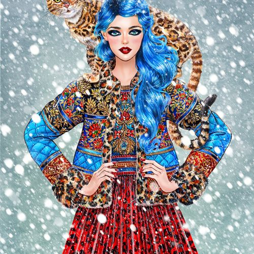 illustration of Blue hair fashion model waering jacket