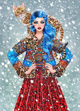 illustration of Blue hair fashion model waering jacket