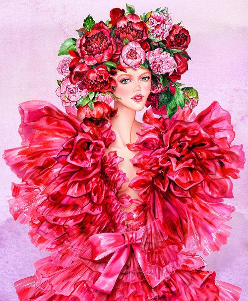 Illustration de la ligne et la couleur de la fille de tête florale