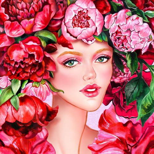 Red hair floral girl portrait