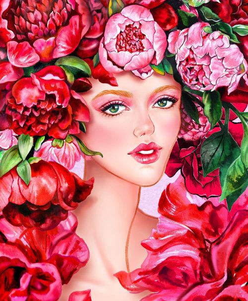 Portrait de jeune fille floral de cheveux roux