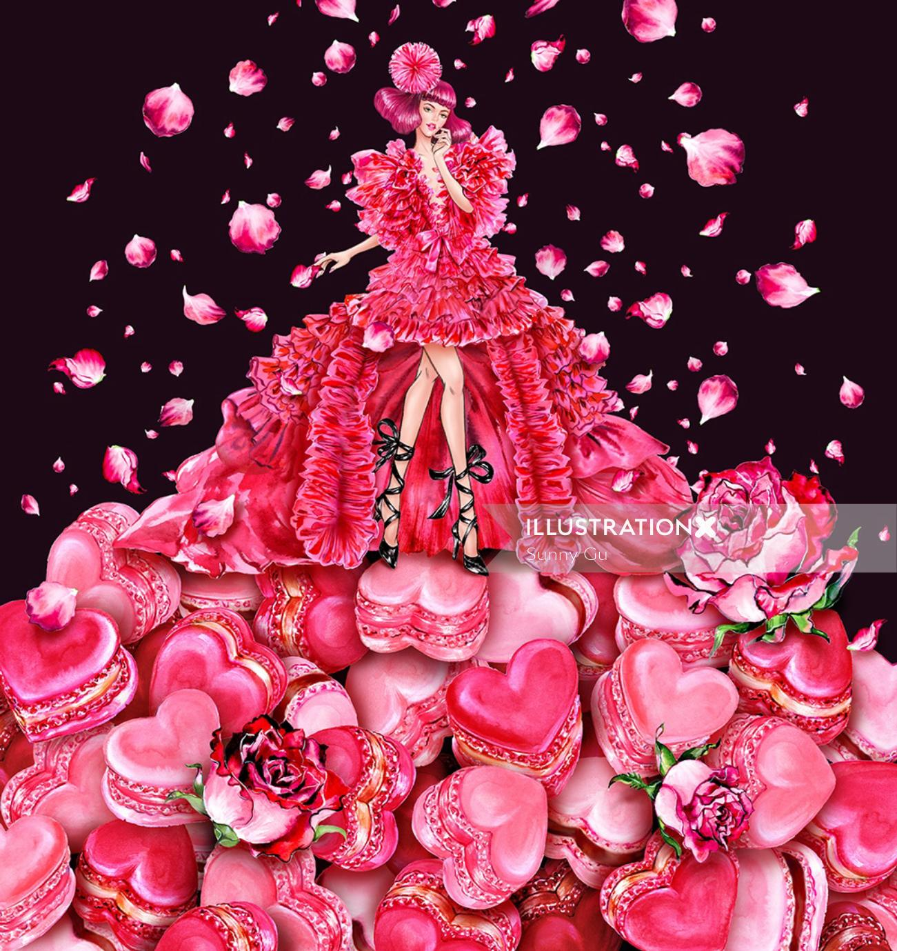 woman is wearing Schiaparelli couture dress