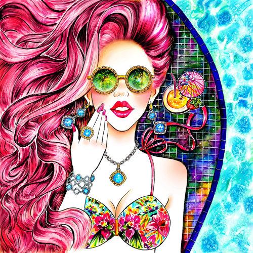 Été, Amour d'été, Bain de soleil, Cheveux roses, Bijoux, Accessoire, Maillots de bain, Bikini