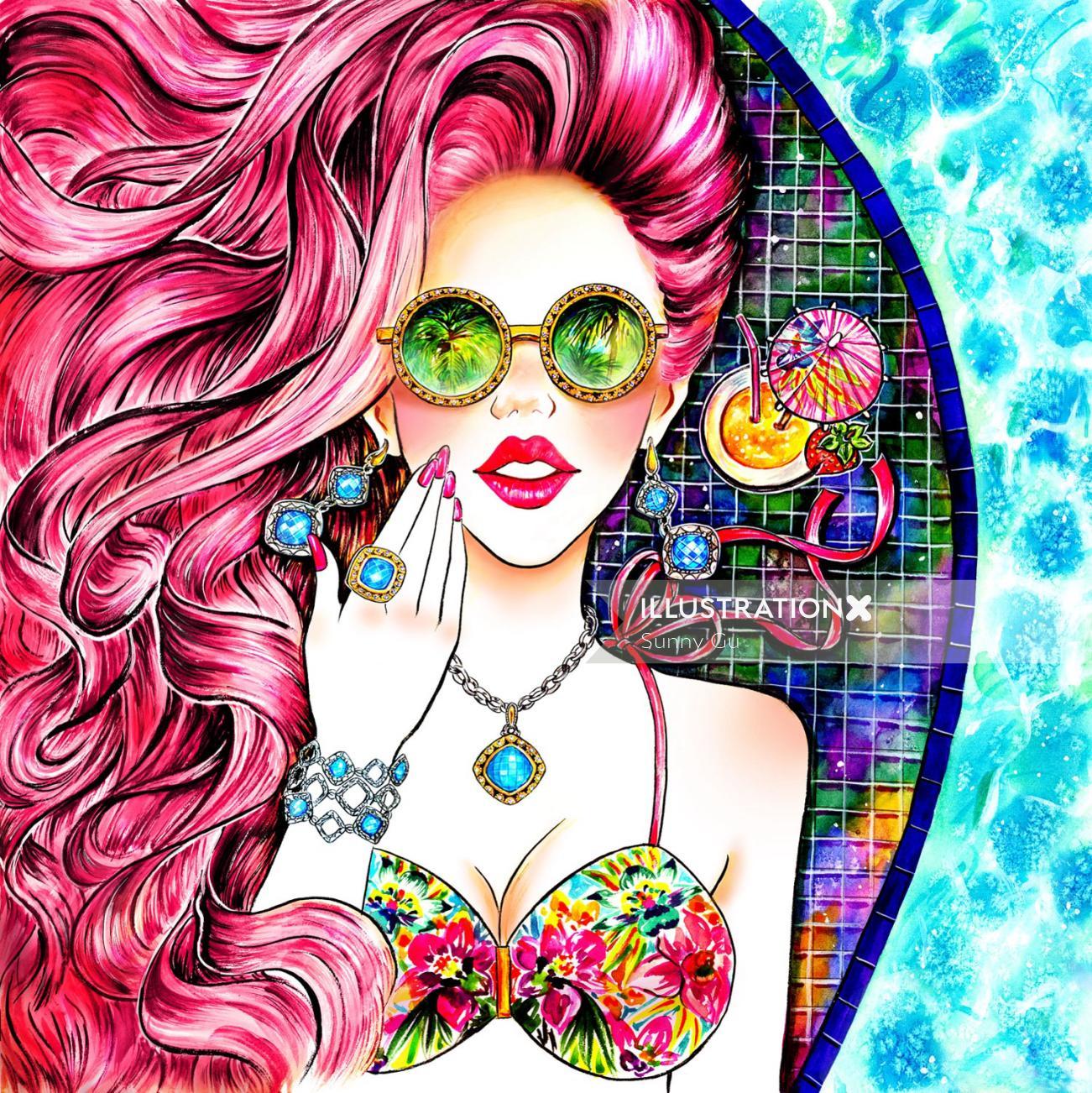 Summer, Summer Love, Sunbathing, Pinkhair, Jewelry, Accessory, Swimwear, Bikini
