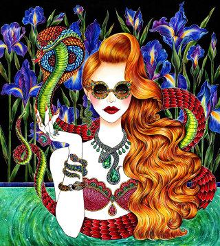 Lifestyle illustration of gorgeous lady