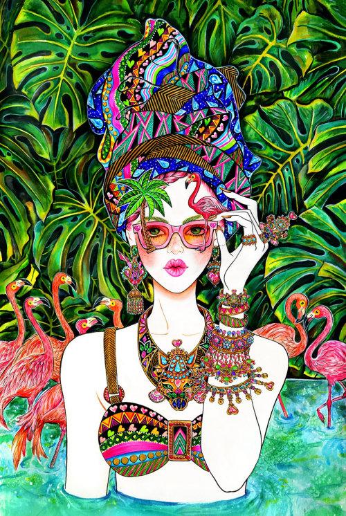 Bijoux, accessoire, flamant rose, été, humeur d'été, lunettes de soleil, lunettes de soleil