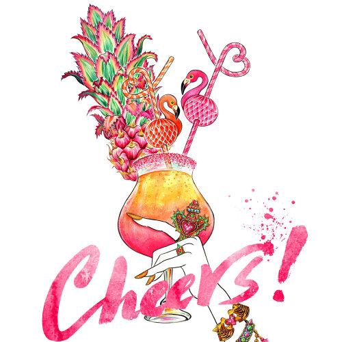Bijoux, accessoire, été, au bord de la piscine, boisson estivale, flamant rose, amour, santé, ananas, cocktail