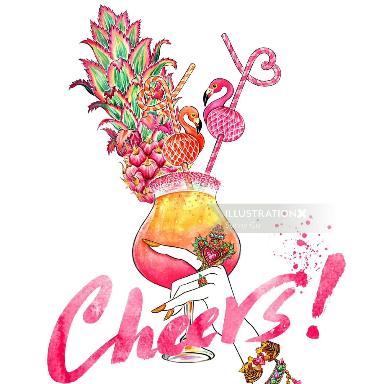 Jewelry, Accessory, Summer, Poolside, Summery Drink, flamingo, love, cheers, pineapple, cocktail