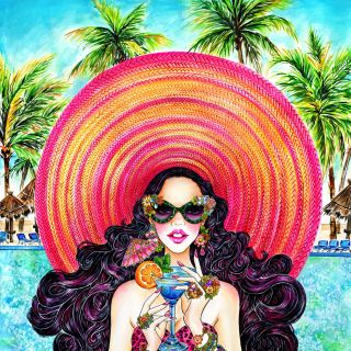 Glamorous lady having summer drink lifestyle illustration