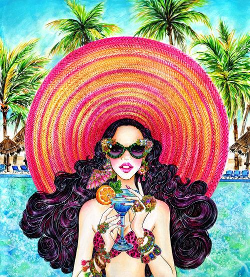 Dame glamour ayant illustration de mode de vie boisson d'été