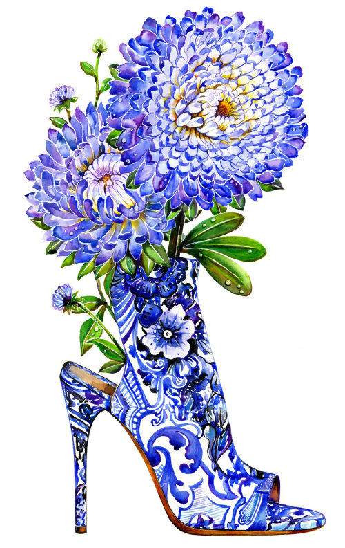 chaussure, amateur de chaussures, bleu, fleur, aster, highheel