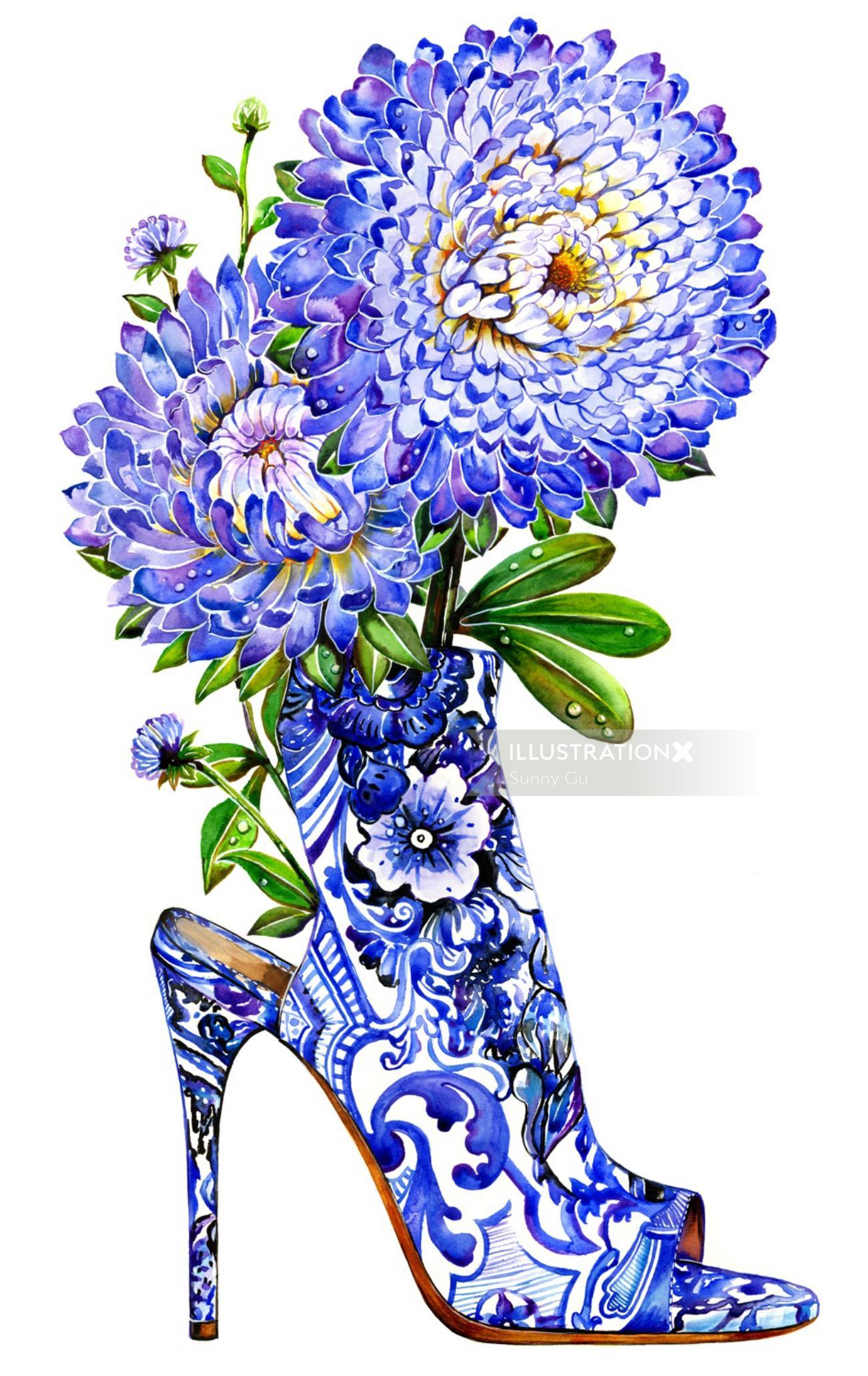 shoe, shoe lover, blue, flower, aster, highheel