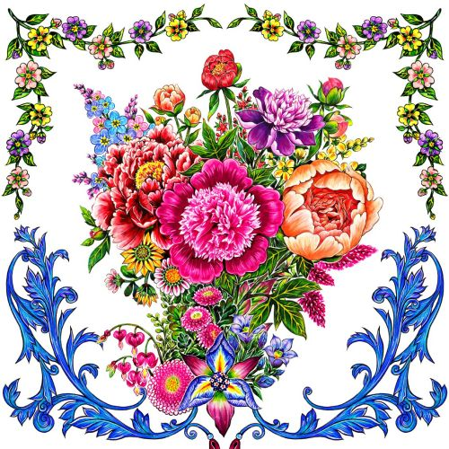 pattern, textile, flowers, bouquet