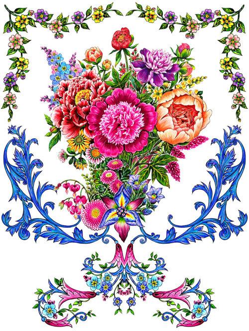 pattern, textile, flowers, bouquet