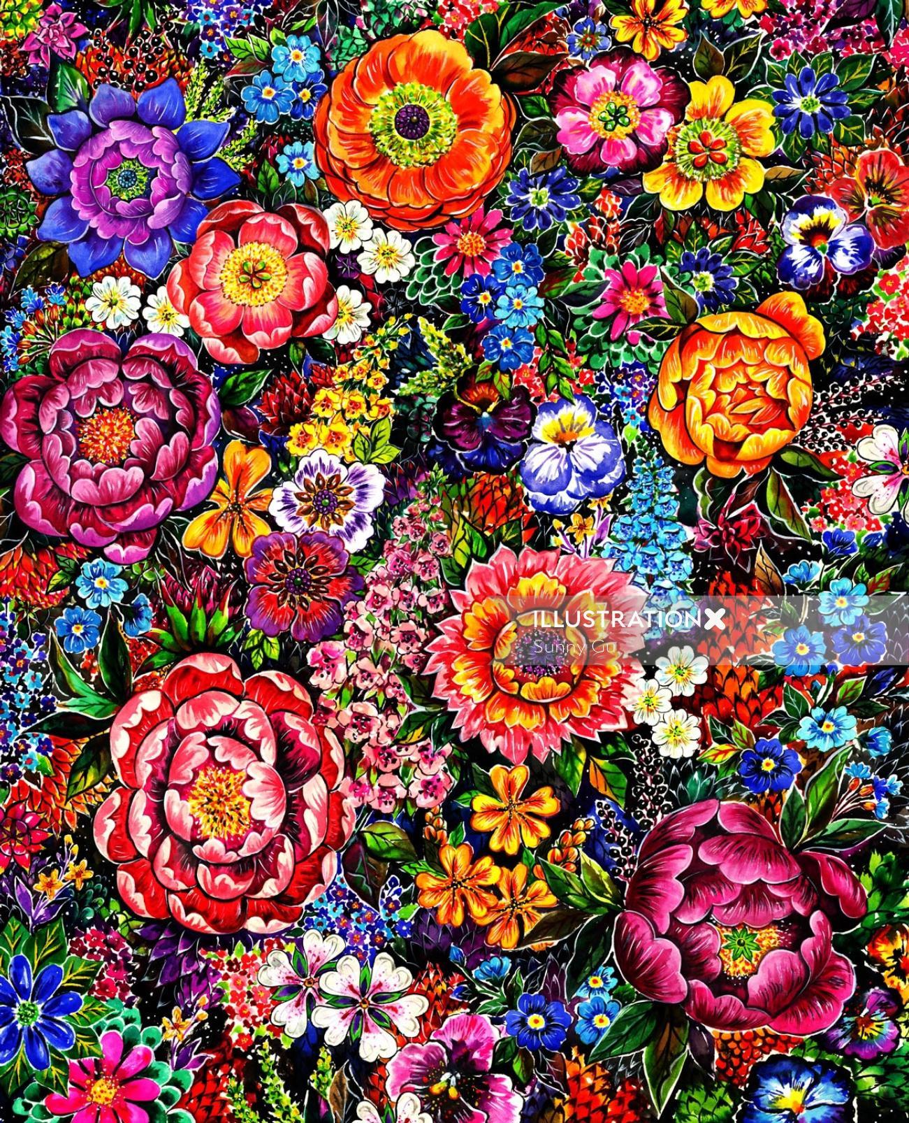 textile, flowers, patterns